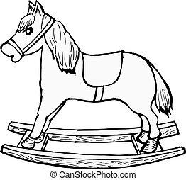 hand drawn, cartoon, vector illustration of rocking horse