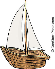 sailboat toy - hand drawn, cartoon, vector illustration of...