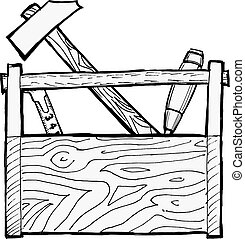 toolbox - hand drawn, cartoon, vector illustration of ...
