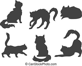 hand drawn cartoon vector silhouettes of the cats