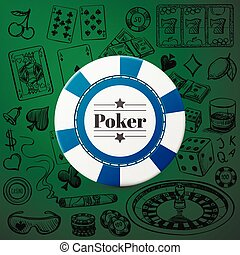Hand drawn Casino Collection with single blue casino chip