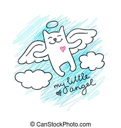 hand drawn cat angel