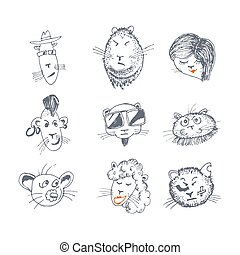 Hand drawn cat icons