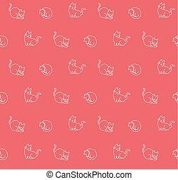 Hand drawn cats seamless pattern, vector illustration
