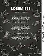 Hand drawn cereals groats, porridge, muesli blackboard poster design