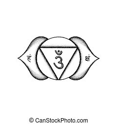 hand drawn chakra Ajna illustration