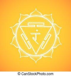 hand drawn chakra Manipura illustration