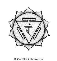 Vector third chakra Manipura sanskrit City of Jewels seed mantra Ram hinduism syllable lotus petals. Dot work tattoo style hand drawn black monochrome symbol white background for yoga meditation