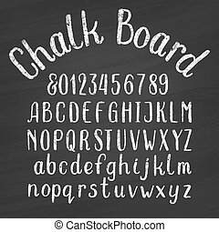 Hand drawn chalk board alphabet font. Upper and lower case letters and numbers on a distressed background.