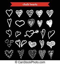 Hand Drawn Chalk Hearts