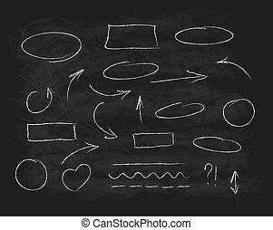 Hand-drawn chalk scribble design elements doodle writing set