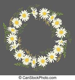 Chamomile flowers wreath on grey background.
