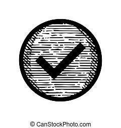 Hand Drawn Check mark symbol icon vector illustration