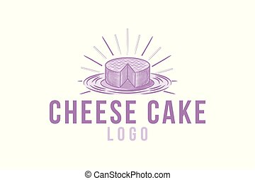 hand drawn cheese cake logo Designs Inspiration Isolated on White Background