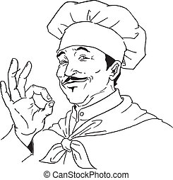 hand drawn chef