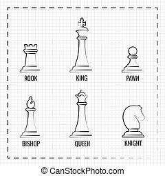 Hand drawn chess pieces line icons