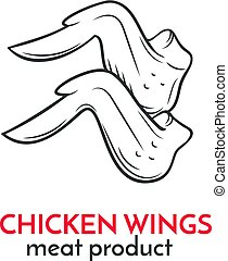 Hand drawn chicken wings icon. Vector food sketch style for ...