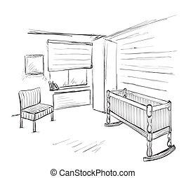 Hand drawn children room. Baby bed
