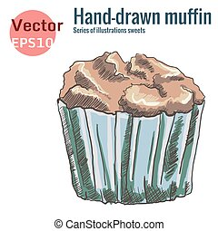 hand-drawn chocolate muffin, isolated on a white background