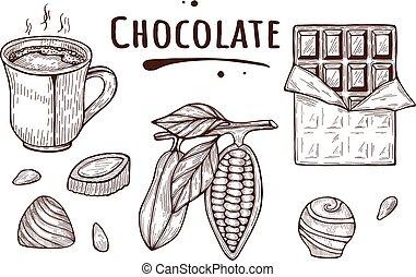 hand drawn chocolate set