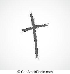 Hand drawn Christian cross icon. Vector illustration