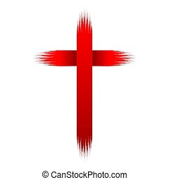 Hand drawn christian cross. Vector illustration.