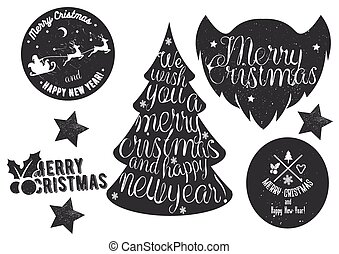 Hand drawn Christmas and New Year decoration set in vintage style. Vector lettering, labels, emblems, design elements