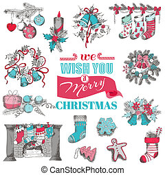 Hand Drawn Christmas Card - for design and scrapbook - in vector