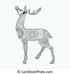Christmas deer for adult anti stress Coloring Page