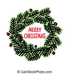 Hand drawn Christmas doodle wreath, vector illustration