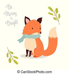 Hand drawn christmas fox in holiday scarf. Be merry and...