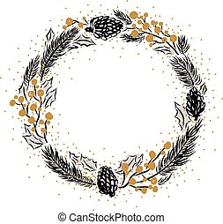 Hand drawn christmas frame design on white background with copy space vector illustration