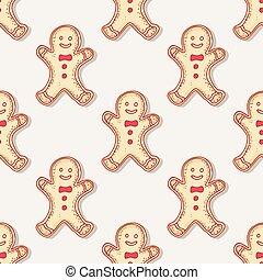 Hand drawn christmas gingerbread man cookies seamless pattern