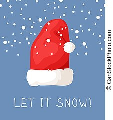 88070af69f3b4 Hand drawn Christmas hat and snow on blue background. Cartoon drawing.  Vector art illustration