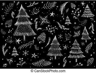 Hand drawn christmas pattern background design on black background vector illustration