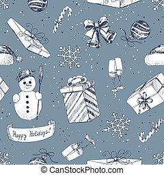 Hand drawn Christmas pattern
