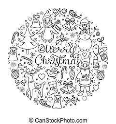 Vector illustration of christmas pattern. Coloring page for children and adult.
