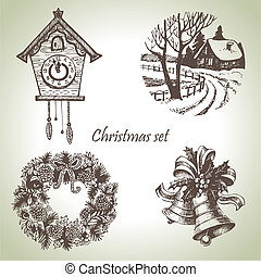 Hand drawn christmas set