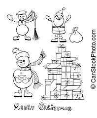 Christmas set - Hand - drawn Christmas set - Snowman with...