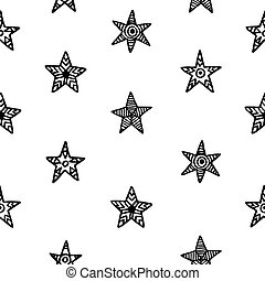 Hand drawn Christmas stars doodles seamless pattern