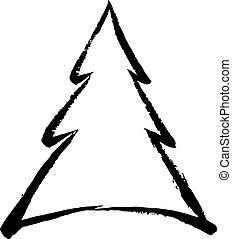 Christmas tree doodle design