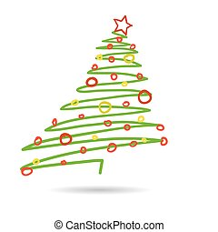 Hand drawn christmas tree isolated on white background, vector