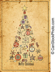 Christmas tree - Hand -drawn Christmas tree on grunge...