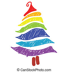 hand-drawn christmas tree rainbow color