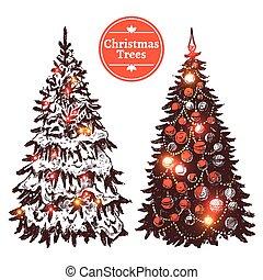 Hand Drawn Christmas Tree Set