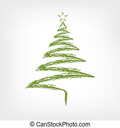 Hand Drawn Christmas Tree with Star. Vector illustration