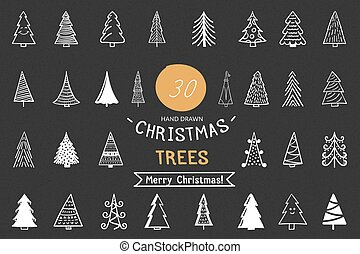 Hand Drawn Christmas Trees