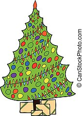 hand drawn christmass tree