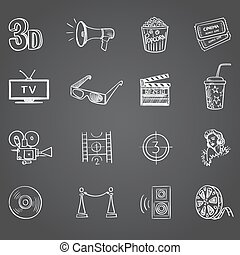 Hand drawn cinema icon set