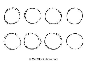 Hand drawn circle frame set